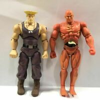 """Lot 2PCS JAZWARES STREET FIGHTER RED SETH GUILE RYU 4"""" Action FIGURE Boy Toys"""