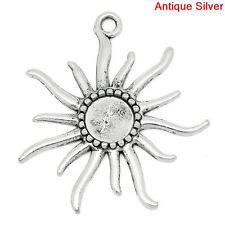3 Silver Metal Large SUN Charm Pendants, fits 12mm cabochons chs0513