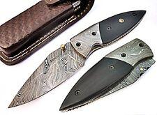 Open Pocket Knife Cleaver Razor Damascus Folding Blade Water Buffalo Horn Handle