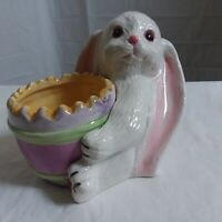 "Bunny Rabbit Planter 4"" White Pink Glazed Porcelain Ceramic Unbranded"