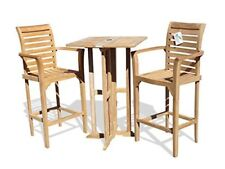 """Windsor's Grade A Teak 27"""" Counter Dropleaf Table (5"""" Lower then Bar) w2 Chairs"""