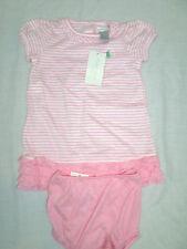 Ralph LAUREN Bebé Vestido 6 meses, 2 PC Set, Rosa Blanco De rayas manga corta chica