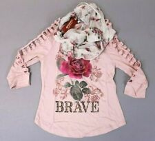Arizona Girl's Open Crochet Bold Brave Graphic Top w/ Scarf AN3 Pink Medium NWT
