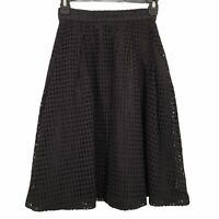 H & M Womens Size 2 Solid Black Crochet Knit Lined  Knee Length Pencil Skirt