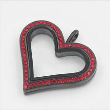 Floating Locket Charm Black Red Rhinestones Magnetic Heart Origami Owl Necklace