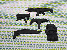 Edible Cake/Cupcake Decorations -15 Guns, Weapons, Backpacks-Sugarpaste Toppers