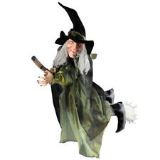 Flying Witch with Broom Halloween Figure 100 cm Witches Decoration Horror Decor