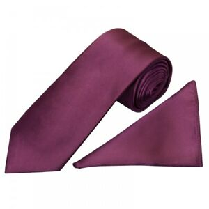 Plain Plum Satin Classic Men's Tie and Pocket Square Set Regular Tie Normal Tie