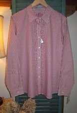 NWT FOXCROFT RED WHITE STRIPED NON-IRON SHAPED FIT BUTTON DOWN SHIRT, SZ 16