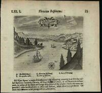 Bosporus Turkey Istanbul Strait 1670 Chetwin antique engraved birds-eye print