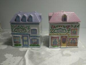 1993 Lenox Village Candy Shoppe and Nut Shoppe Canisters/Porcelain Jars Set of 2