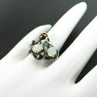 Vintage Modernist Ring Solid Sterling Silver Ruby Opalite Jewelry 7 Thailand