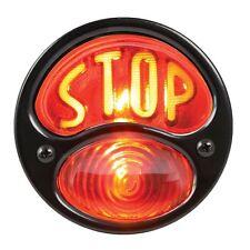 Brake Motorcycle STOP Round License Plate Tail Light Bobber Chopper Custom Black