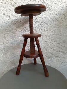 TABOURET tripode ancien à vis en bois parfait état hauteur réglable brutaliste