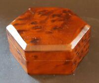 Wood vintage Art Deco antique hexagonal trinket box