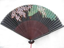 Vintage Hand Painted Silk And Wood Fan Peacock & Cherry Blossoms, Beautiful!