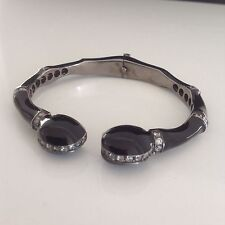 Black Color Enamel 925 Silver Cuff Bracelet w White Quartz Stones