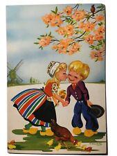 Cartoon Children Kiss Swillems Illustrated Holland Netherlands Vintage Postcard
