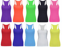 Ladies UV Neon Vest Stretchy Top Dance Party Casual Club Gym 11 Colours