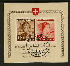 SWITZERLAND : 1941 Pro Juventute miniature sheet SG M J99a fine used