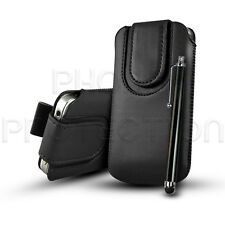 BUTTON PU LEATHER PULL TAB CASE COVER POUCH & STYLUS FOR VARIOUS MOBILE PHONES