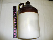VINTAGE ANTIQUE BROWN & WHITE   WHISKEY JUG 12  X 7  INCHES