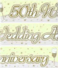 50TH GOLDEN WEDDING ANNIVERSARY BANNERS PACK  WALL DECORATIONS (EW) 96