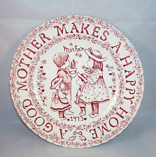 Crownford England A Good Mother Makes A Happy Home 1973 Round Red Plate China