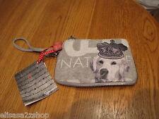 Fuzzynation fuzzy nation dog wristlet wallet change purse coin golden NEW zipper
