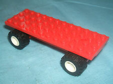 Lego 12 x 4 Vehicle Car / Truck Long Base Flatbed RED Chassis White Wheels