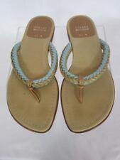 STUART WEITZMAN Tan Leather Fabric Braided Blue Accents Flip flops Sandals 6.5