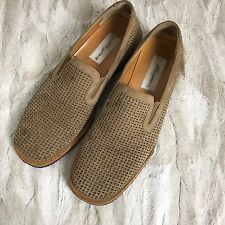 Mezlan Brown Mens Woven Perforated Slip On Shoes 10 Suede Casual Comfy Spain