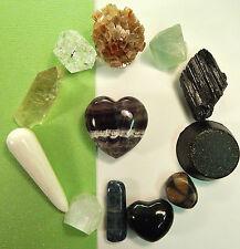 Orgone Shungite Fluorite Tourmaline Quartz Kyanite Chiastiolite Crystals Set CB1