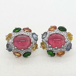 10.40ctw Ruby, Multi-Color & Diamond Cut White Sapphire 925 Silver Earrings 8.9g