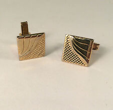Cufflinks Gold Tone Square Textured Embossed Classic Vintage 1970 Style