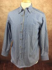 Charles Tyrwhitt Non Iron Classic Fit Weekend L/S Blue Stripe Shirt Men's Small