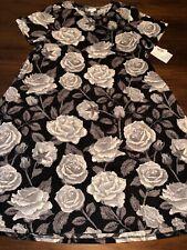 NWT LuLaRoe 2XL Jesse Swing Dress Black Grays Cream Roses Floral *UNICORN*