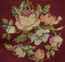 Vintage Burgandy Floral Needlepoint Piano Bench Cover Roses Pillow Wall Decor