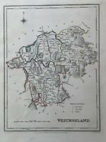 1848 Westmorland Original Antique Hand Coloured County Map 172 Years Old