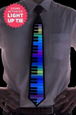 Rainbow Piano Sound and Music Activated LED Novelty Light Up Rave Tie Necktie