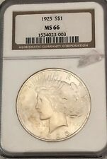 1925- Ngc Ms-66, U.S. Silver Peace Dollar- See Other Rare Coins