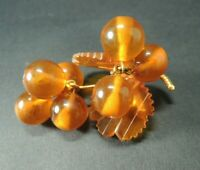 VINTAGE RUSSIAN BALTIC HONEY AMBER GRAPE LEAF DANGLE PIN BROOCH