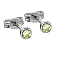 Paar Ohrstecker 925 Silber rhodiniert 3,50mm limette Zirkonia Damen Herren 6684