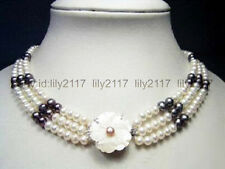 A+3 Rows Genuine Black White Pearl White Gold Plated Shell Flower Clasp Necklace