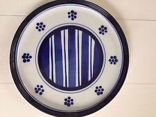 """Lot of 4 Dansk Blue/White Stripe and Flower Dinner Plates, 11"""", Mint"""