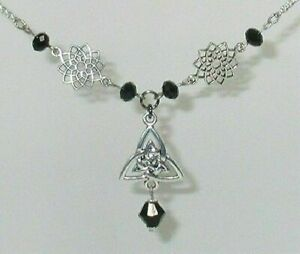 """Necklace Celtic Silver Knots and Drop 16"""" with Black Crystals j6"""