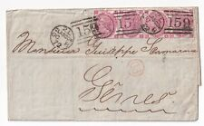 GB QV 3d Rose SG103 Plate 8 strip of 4 on cover to France 1872