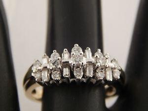10k Gold Mixed Cut Diamond Ring Designer Wedding Band .61 tcw F/SI2 Estate