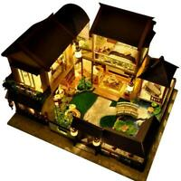 3D Wooden LED Dollhouse Miniature Furniture Doll House Kit DIY Toy Gift Z7F1