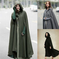 Medieval Women Lady Long Cloak Cosplay Witch Halloween Cape Hooded Coat Costume